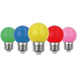 Avide Dekor LED fényforrás G45 1W E27 B5 (Zöld/Kék/Sárga/Piros/Rózsaszín)
