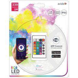 LED Szalag Bliszter 12V 7.2W SMD5050 30LED RGB IP65 5m WIFI TUYA + IR Avide