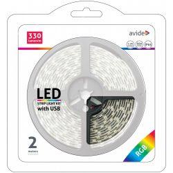 LED Szalag Bliszter 5V 7.2W SMD5050 30LED RGB IP65 2m Avide