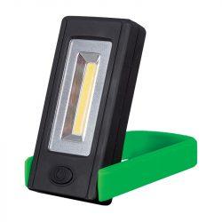 Elemes LED kézi lámpa mágnessel és rögzítő clippel zöld ELMARK