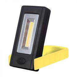 Elemes LED kézi lámpa mágnessel és rögzítő clippel sárga ELMARK