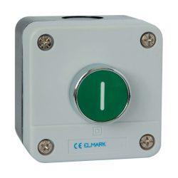 Nyomógomb tokozattal, rugós EL1-B102 Ip44 zöld ELMARK