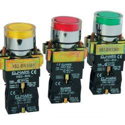 LED-es nyomógomb EL2-BW 3571 24V sárga ELMARK