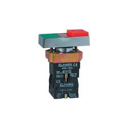 Dupla nyomógomb EL2-BW 8475 230V piros + zöld gomb + LED fény ELMARK