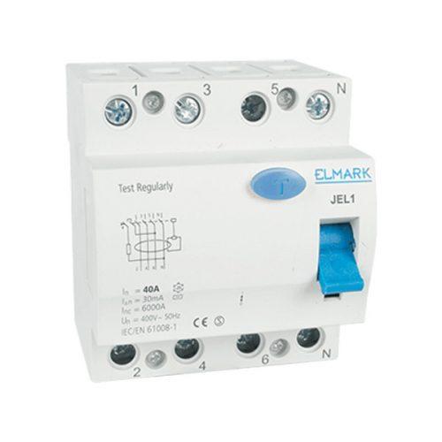Áramvédő kapcsoló (FI RELÉ) JEL1 6KA 4p 20A/30MA Elmark