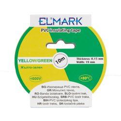 Szigetelő szalag 10mx19mm zöld/sárga Elmark