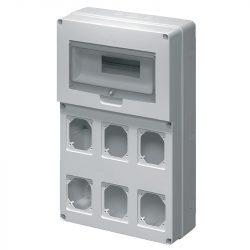 Ipari elosztó függőleges 6 dugalj 12 modul Elmark
