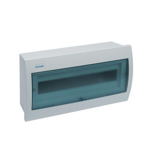 Elosztószekrény falon kívüli doboz Ip40 18 modul kék ajtó ELMARK