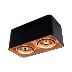Spot lámpatest 2XGU10 négyzet billenthető arany/fekete Elmark