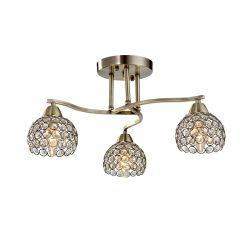 LIZA kristály mennyezeti lámpa 3XE14 antik réz ELMARK