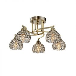 LIZA kristály mennyezeti lámpa 5XE14 antik réz ELMARK