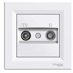 Schneider Asfora TV/R aljzat, átmenő, 8 dB, fehér