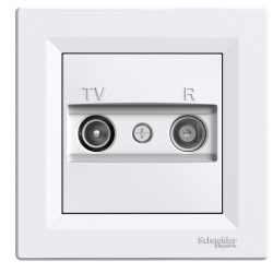 Asfora TV/R aljzat, átmenő, 8 dB, fehér Schneider