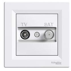 Schneider Asfora TV/SAT aljzat, átmenő, 4 dB, fehér