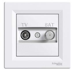 Schneider Asfora TV/SAT aljzat, átmenő, 8 dB, fehér