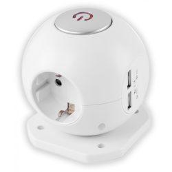 Entac Gömb elosztó 3 foglalattal, 2x2.1A USB-vel kapcsolóval 1.5m 3G1.5 Avide