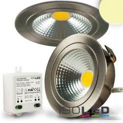 3W 2700K süllyesztett fix LED mélysugárzó dimmelhető 120° szatén-nikkel Isoled